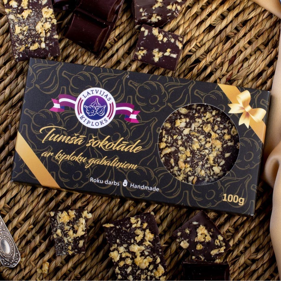 Tumšā šokolāde ar ķiploku gabaliņiem 100g